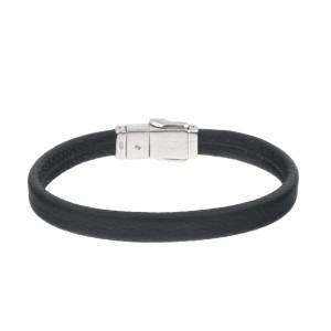 David Yurman Sterling Silver Black Leather Bracelet