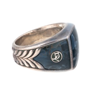 David Yurman Sterling Silver with Pietersite and Chevron Motif Ring Size 10