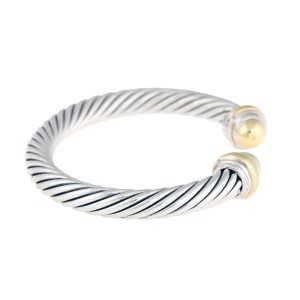 David Yurman Silver And 14K Yellow Gold Bangle Bracelet
