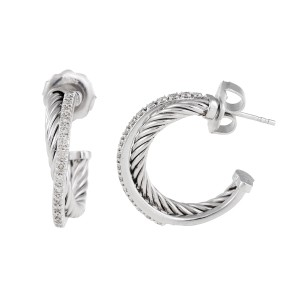 David Yurman Sterling Silver 0.44ctw. Small Hoop Earrings