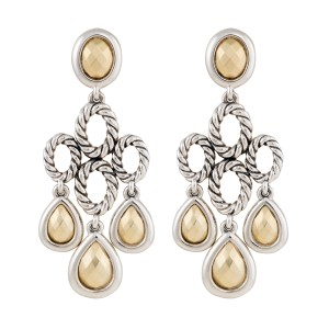 David Yurman Sterling Silver with Bonded 14K Yellow Gold Cable Chandelier Earrings