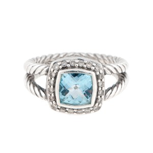 David Yurman Sterling Silver Blue Topaz and 0.10ct. Diamond Albion Ring Size 5.5