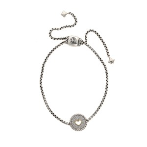 fce1c30c1ca16 David Yurman Petite Pave 925 Sterling Silver and 18K Yellow Gold with Diamond  Heart Bracelet