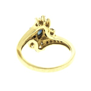 14k Yellow Gold Diamond and Sapphire Ring Size 6