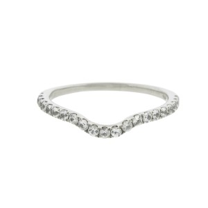 White sapphires Palladium Wave Band Ring