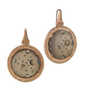 18K Rose Gold Brown Bubble Diamond Earrings