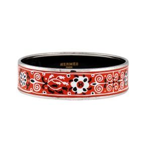 Hermes Red Enamel Bangle Bracelet