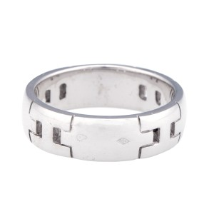Hermes 18K White Gold H Logo Ring Size 5.5