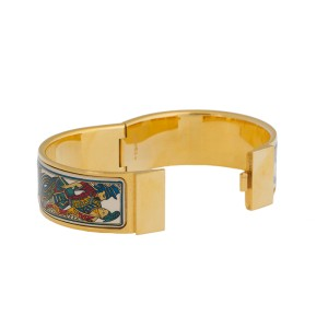 Hermes Gold Plated Hinged Cuff