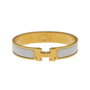 Hermes Gold Tone White Enamel Clic Clac H Bangle Bracelet