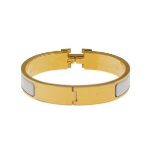 Hermes Gold Tone White Enamel Clic-Clac H Bangle Bracelet