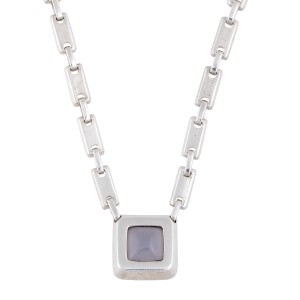 Hermes Sterling Silver Amethyst Pendant Necklace