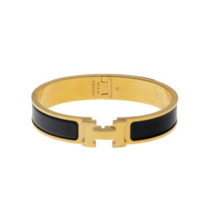Hermes Gold Tone Black Enamel Clic-Clac H Bangle Bracelet