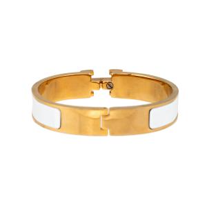 Hermes Gold Tone White Enamel Clic Clac Bracelet
