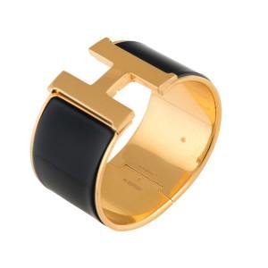 Hermes Black Enamel Gold Tone Clic Clac H Cuff