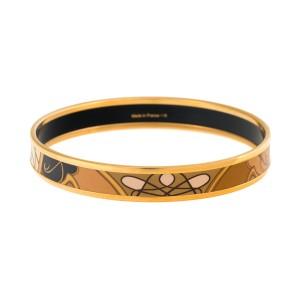 Hermes Narrow Gold Tone Hardware & Enamel Bracelet