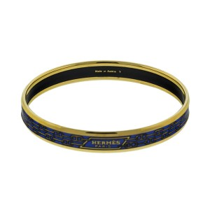 Hermes Printed Enemal Blue Links Gold Tone Cuff