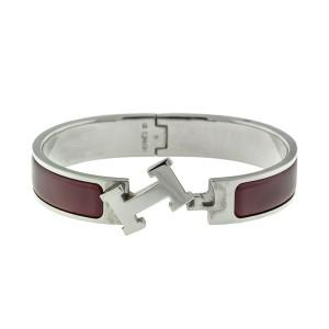 Hermes Powder Burgundy Enemal H Clic Clac Bracelet