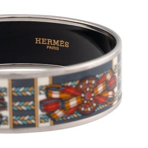 Hermes Palladium and Enamel Ribbon Print Wide Bracelet