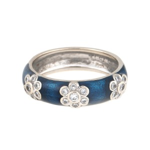 Hidalgo 18K White Gold and 0.20ct. Diamond Blue Enamel Ring Size 6