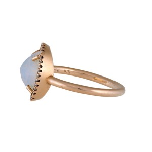 Irene Neuwirth 18K Yellow Gold Moonstone and Diamond Ring Size 7