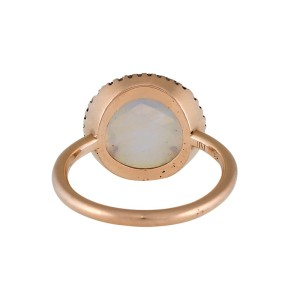Irene Neuwirth 18K Yellow Gold Moonstone and Diamond Ring Size 7