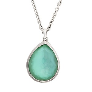 Ippolita Rock Candy Sterling Silver Mother of Pearl and Quartz Doublet Mini Tear Drop Pendant Necklace