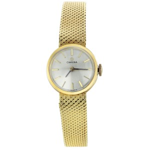 Omega 18k Yellow Gold 7173 19mm Womens Vintage Watch