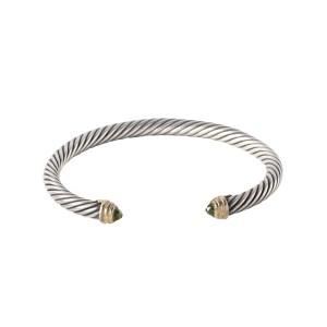 David Yurman Sterling Silver and 14K Yellow Gold Green Peridot Cable Bangle