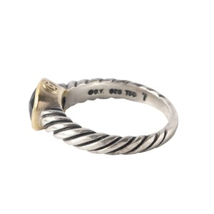 David Yurman Onyx 18k Yellow Gold and Sterling Silver Noblesse Cable Ring