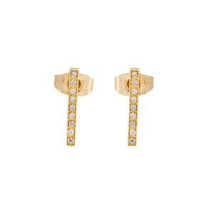 Jennifer Meyer 18K Yellow Gold 0.17ctw Diamond Long Bar Stud Earrings