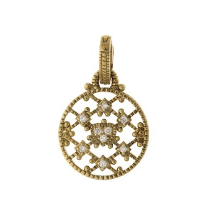 Judith Ripka 14k Yellow Gold 0.10 Ct Diamond Rope Pendant