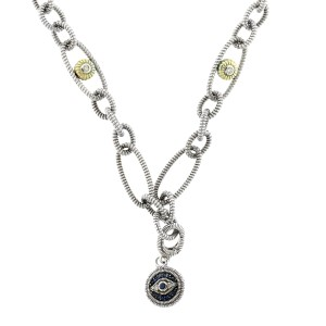 Judith Ripka Silver and Gold Evil Eye Necklace with Sapphires