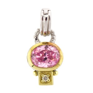 Judith Ripka Pendant Enhancer with Pink Crystal and Diamond