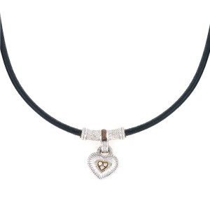 Judith Ripka Sterling Silver 0.05ct. Diamond Heart Pendant with Leather Necklace
