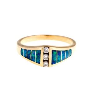 Kabana 14K Yellow Gold Opal and 0.12 Ct Diamond Ring Size 7