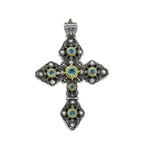 Konstantino 18k Yellow Gold & Sterling Silver Blue Topaz Cross Pendant
