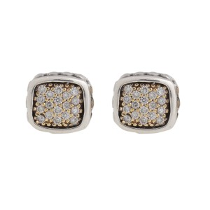 Lagos 18K Yellow Gold and Sterling Silver 0.40 Ct Cushion Shape Diamond Earrings