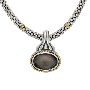 Lagos Caviar Sterling Silver and 18K Yellow Gold with Mother of Pearl Mini Rope Chain Enhancer Necklace