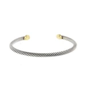 David Yurman 18k Yellow Gold and Sterling Silver Aquamarine Cable Cuff
