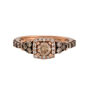 Le Vian 14K Strawberry Gold Chocolate Diamond Frame Tri-Sides Ring Size 6.5
