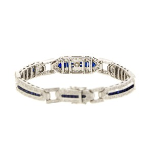Le Vian 18k White Gold Diamond and Sapphire Vintage Style Bracelet