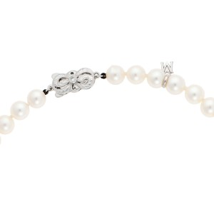 MIkimoto 18K  White Gold Akoya Cultured Pearl Necklace and Earring Set