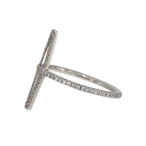Monique Pean 18K White Gold Tapered Baguette Diamond Ring Size 2.5