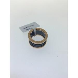 Bulgari B. Zero 1 18K Rose Gold & Black Ceramic 4 Band AN855563 Ring Size: 5.75