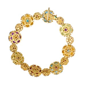 Pasquale Bruni 18k Yellow Gold Multi Gemstone Flower Cluster Bracelet