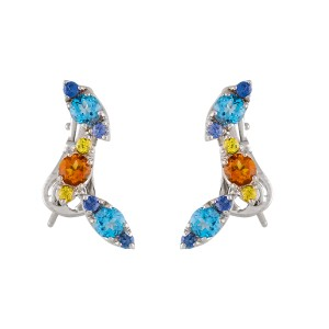Pasquale Bruni  18k White Gold Blue Topaz and Citrine Drop Earrings