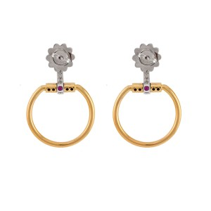 Roberto Coin 18K Two Tone Classic Parisienne Small Earrings with Diamonds