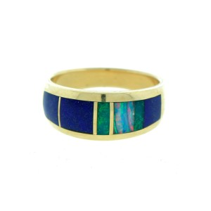 14K Yellow Gold Lapis Turquoise & Opal Men's Band Ring