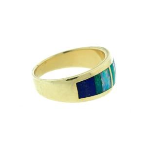 14K Yellow Gold Lapis Turquoise & Opal Men's Band Ring